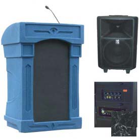 Summit™ DaVinci Freedom Podium / Lectern, Blue Granite Shell / Black Marble Front Insert
