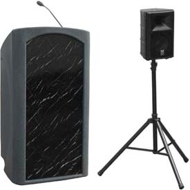 Summit™ Presenter Podium / Lectern, Gray Granite Shell / Black Marble Front Insert