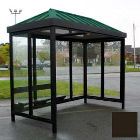 Heavy Duty Bus Smoking Shelter Hip Roof 3-Sided Front Open 5' x 10' Dark Bronze Roof
