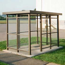 Heavy Duty Bus Smoking Shelter Flat Roof 4-Sided Right Front Open 5' x 10' Bronze