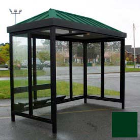Heavy Duty Bus Smoking Shelter Hip Roof 3-Sided Front Open 5' x 12' Classic Green Roof