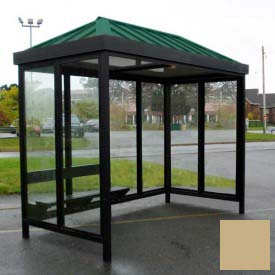 Heavy Duty Bus Smoking Shelter Hip Roof 3-Sided Front Open 5' x 12' Khaki Roof