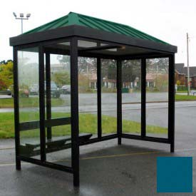 Heavy Duty Bus Smoking Shelter Hip Roof 4-Sided Right Front Open 5' x 12' Regal Blue Roof