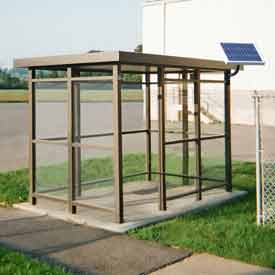 Heavy Duty Bus Smoking Shelter With Solar LED, Flat, 4-Side, Left/Right Front Open, 6' X 12', Bronze