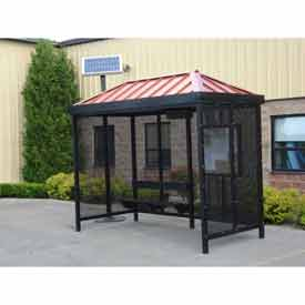 Heavy Duty Bus Smoking Shelter With Solar LED, Hip, 4-Side, L/R Front Open, 6' X 12', Khaki