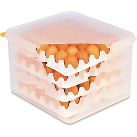 Araven 00378 - Egg Container W/Lid, PP, 2.3 Qt., With (8) 2/3 Size Polystyrene Trays, Translucent - Pkg Qty 6