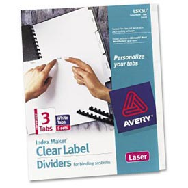 Index Maker Clear Label Dividers With White Tabs, 3-Tab, 5 Sets/Pack