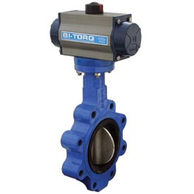 "BI-TORQ 6"" Wafer Style Butterfly Valve W/ Viton Seals and Dbl. Acting Pneum. Actuator"