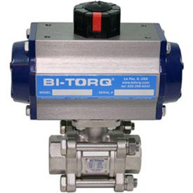"BI-TORQ 2"" 3-Pc SS NPT Ball Valve W/Dbl. Acting Pneum. Actuator"