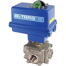 "BI-TORQ 1/2"" 3-Way T-Port SS NPT Threaded Ball Valve W/NEMA 4 115VAC/4-20mA"