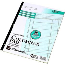 "Wilson Jones® Columnar Pad, 11"" x 8-1/2"", 4 Columns, Green, 50 Sheets/Pad"