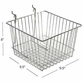 "Azar Displays 300621 Chrome Wire Basket, 4.25"" High, Metal by"