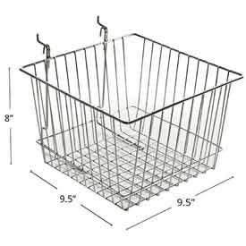 "Azar Displays 300622 Chrome Wire Basket, 8"" High, Metal, 2 Pack by"