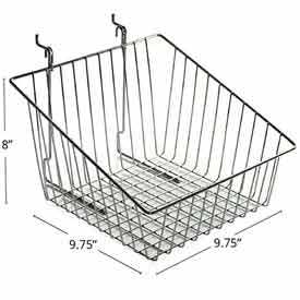"Azar Displays 300623 Sloped Chrome Wire Basket, 8"" High, Metal, 2 Pack by"