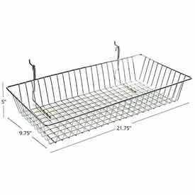 "Azar Displays 300625 Chrome Wire Basket, 5"" High, Metal by"