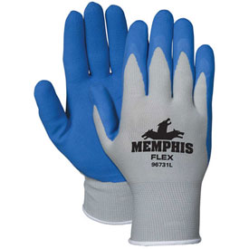 MCR Safety 96731L Memphis Flex Seamless 13 Gauge Nylon Knit Gloves, Large, Blue/Gray, 1 Pair
