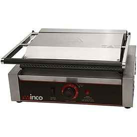 """Winco EPG-1 Electric Panini Grill, Ribbed Plates, 14"""", 1 Set by"""