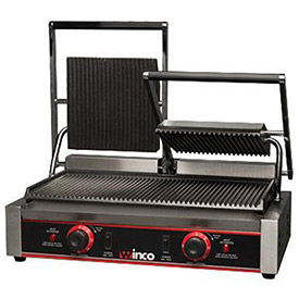 """Winco EPG-2 Electric Panini Grill, Ribbed Plates, 9"""", 2 Sets by"""