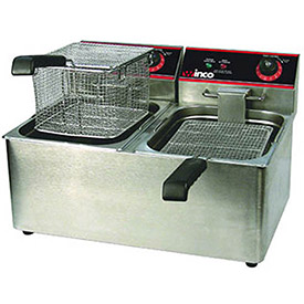 Click here to buy Winco EFT-32 Electric Deep Fryer, 1800W, 120V, 60Hz, Twin Well, 32 lbs. Oil Capacity.