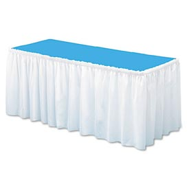 "Table Set® Linen-Like Table Skirting, White, 29"" X 168"" - Pkg Qty 6"
