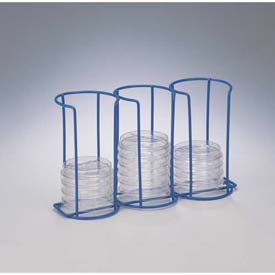 Bel-Art Poxygrid Contact Plate/Petri Dish Rack, 3 Columns, Holds (30) 72mm Plates, Blue,... by
