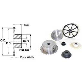 """18 Tooth, No. 25, 1/4"""" Ptch, Steel Fin. Bore Sprocket, 1.568"""" Od, Bore 0.25"""", 25bf18x1/4-Min Qty 10"""
