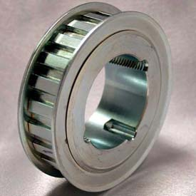 """28 Tooth Timing Pulley, (H) 1/2"""" Pitch, Clear Zinc Plated Steel, TL28H100"""