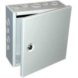"Bud Jbh-4953-Ko Nema 1 Sheet Metal Box With Hinged Cover And Knockouts 4"" W X 4"" D X 6"" H -Min Qty 8"