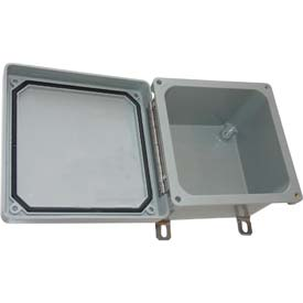 "Bud NFL-6632 Fiberglass NEMA Box Stainless Steel Latch Type Lid Closure 9.9"" W x 6.8"" D x 11.78"" H"