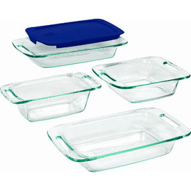 World Kitchen 1093842 Pyrex easy grab 5-Piece Clear Glass Bakeware Set by