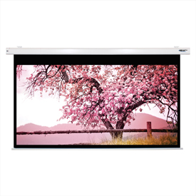 "HamiltonBuhl Electric Projector Screen - 110"" Diagonal - HDTV Format - White Frame"