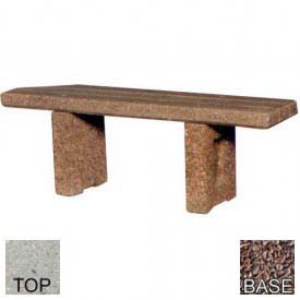 "48"" Commercial Flat Concrete Bench, Polished Tan River Rock Top, Red Quartzite Leg"