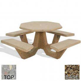 "40"" Octagon Picnic Table, Polished Gray Limestone Top, Tan River Rock Leg"