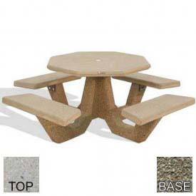 "40"" Octagon Picnic Table, Polished Tan River Rock Top, Gray Limestone Leg"