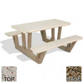 "38"" Rectangular Picnic Table, Polished White Top, Tan River Rock Leg"