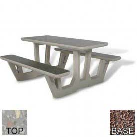 "58"" Rectangular Picnic Table, Polished Gray Limestone Top, Red Quartzite Leg"