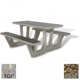 "58"" Rectangular Picnic Table, Polished Gray Limestone Top, Tan River Rock Leg"