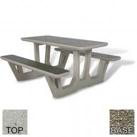 "58"" Rectangular Picnic Table, Polished Tan River Rock Top, Gray Limestone Leg"