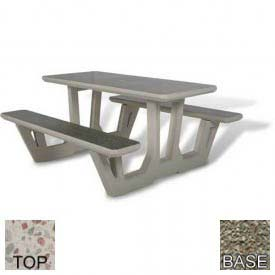 "58"" Rectangular Picnic Table, Polished White Top, Gray Limestone Leg"