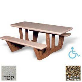 "68"" ADA Rectangular Picnic Table, Polished Tan River Rock Top, Tan River Rock Leg"