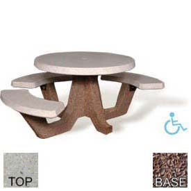 "42"" ADA Round Picnic Table, Polished Tan River Rock Top, Red Quartzite Leg"