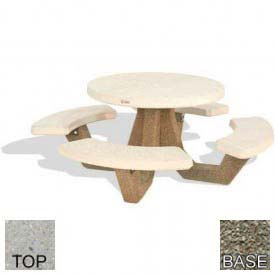 "42"" Round Picnic Table, Polished Tan River Rock Top, Gray Limestone Leg"