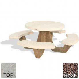"42"" Round Picnic Table, Polished Tan River Rock Top, Red Quartzite Leg"