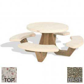 "42"" Round Picnic Table, Polished White Top, Gray Limestone Leg"