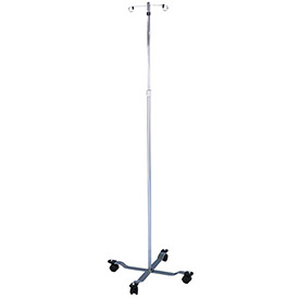 "Blickman 1305 Chrome IV Stand with 4-Leg Base, 2-Hook, 47-1/2"" - 85-1/2"" Height"