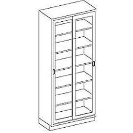 Blickman Five Shelf High Glass Sliding Door Medical Cabinet, 47 x 23 x 84