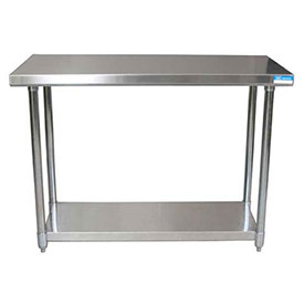 "BK Resources CTT-3624, 36"" W x 24"" D 16 ga. Stainless Steel Workbench w/ Galvanized Legs & Shelf"