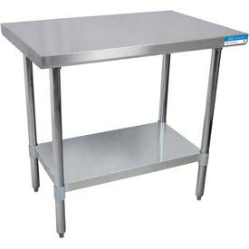 "BK Resources VTT-3630, 36"" x 30"" 18 Ga. Stainless Flattop Workbench, Galvanized Base"