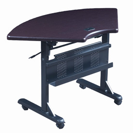 "Balt® Quarter Round Flipper Training Table - 46"" x 24"" - Mahogany"