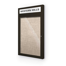 "Balt® Outdoor Headline Bulletin Board Cabinet,1-Door 24""W x 42""H, Coffee Trim, Cotton"